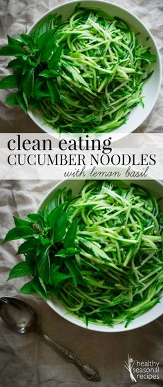 This clean eating salad made with cucumber noodles with lemon basil takes just 10 minutes to make. It is low-carb, paleo and vegan. Healthy Seasonal Recipes