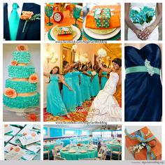 nigerian wedding cyan, navy blue and orange wedding color scheme