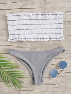 SheIn offers R… Shop Random Striped Frill Trim Shirred Bandeau Bikini Set online. SheIn offers Random Striped Frill Trim Shirred Bandeau Bikini Set & more to fit your fashionable needs. Baby Bikini, Bandeau Bikini Set, Bikini Swimwear, Trendy Swimwear, Cute Swimsuits, Cute Bikinis, Summer Bikinis, Women's Bikinis, Retro Swimwear