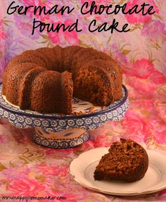 German Chocolate Pound Cake - made from a cake mix with a tub of frosting mixed into the batter.  SO GOOD!
