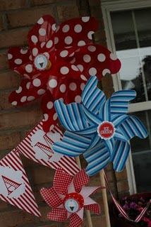 ice cream social pinwheels. Lots of great ideas and decorations for bday or neighborhood block party