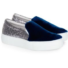 Joshua Sanders Silver Glitter & Fur Slip-On Sneakers ($270) ❤ liked on Polyvore featuring shoes, sneakers, flatform shoes, glitter sneakers, slip-on shoes, sparkle sneakers and blue sneakers