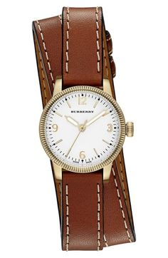 Brown leather accessories are a must when styling a nautical look | Burberry Leather Wrap Watch