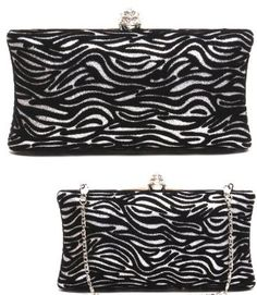 Amazon.com  Zebra SILVER SPARKLE BLING Hard Case Clutch Evening bag w  Rhinestone   Crystal Clasp closure by Jersey Bling  Clothing 50b7b9ecc38d8