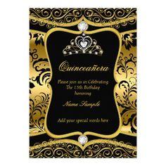 Elegant Quinceanera Gold Black Damask Tiara Invite