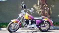 1980 Harley Davidson IronHead Iron Head Sportster  with Purple, Gold and Yellow Custom Fuel Tank Paint Job with Flame Graphics Art: The 1980 Harley Davidson Ironhead for Sale is a 1980 Harley Davidson Ironhead Sportster with a custom purple and yellow flame graphics paint job; take