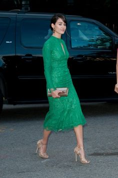 Emmy Rossum wearing Jimmy Choo Fayme sandals Jimmy Choo Sweetie Clutch Monique Lhuillier Fall 2013 RTW Lace Dress Monique Lhuillier fashion show on September 7 2013
