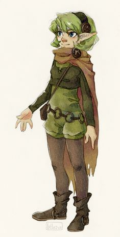 Excuse to try that watercolor technique again. And because redesigning Saria seemed fun :} Puffy pants fit her so well~