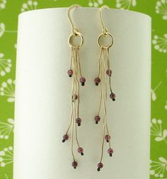 Garnet on Gold Organic Earrings by merrittgade on Etsy, $34.00