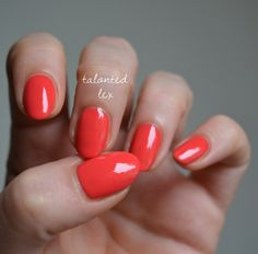 'Sunset Sneaks' from the essie 'Peach Side Babe' summer 2015 collection. A bright coral red manicure.