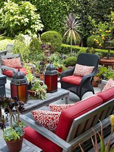 Patio Design...Put Pattern to Work..In landscapes that include lots of different plant types and textures, too much additional pattern can be overwhelming. Small doses are a good way to provide visual relief as well as interesting contrast to furniture. This patio set's solid-red seating cushions are paired with red-and-white pattern accent pillows for a pop of style. #patiofurnitureideas