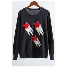 Beaded Embroidery Stars Pattern Round Neck Long Sleeve Sweater (1,460 DOP) ❤ liked on Polyvore featuring tops, sweaters, star sweater, round neck sweater, star print sweater, long cotton tops and embroidery top