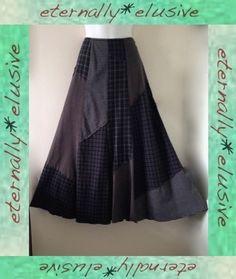PER UNA Tartan Patchwork Lagenlook Victorian Steampunk Long Maxi Skirt Size 14 R