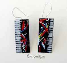 Enameled Party Time Dangle Earrings Black White Sterling Silver by fitzidesigns on Etsy