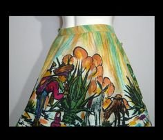 Colorful hand painted Mexican circle skirt ~ Large XL gold green ~ painting of man burros donkeys cactus house ~ side ties Long Extensions, Green Paintings, House Siding, Green Man, Donkeys, Tie Dye Skirt, Vivid Colors, 1950s