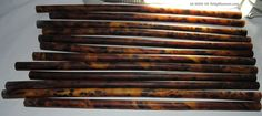 Old Bakelite, Honey - Brown Marbled Translucent Galalith Rods Type ...