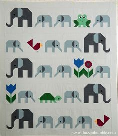 Elephant Parade quilt top by BuzzinBumble. Pattern by Sew Fresh Quilts.