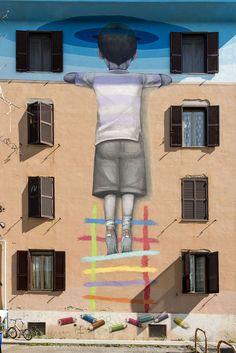StreetArt Roma: Il Bambino Redentore   Seth   2015   Zona: Tor Marancia   #art #streetart #roma