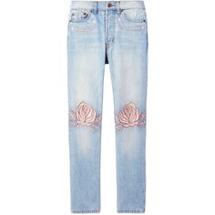 Bliss and Mischief 'Song Of The West' Embroidered Jean (27.405 RUB) ❤ liked on Polyvore featuring jeans, bottoms, blue, blue jeans, embroidered jeans, light wash jeans and embroidery jeans