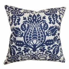 """Cotton pillow with a damask-inspired motif and feather-down fill. Made in the USA.   Product: PillowConstruction Material: Cotton cover and 95/5 down fillColor: Snorkel blue and whiteFeatures:  Insert includedHidden zipper closureMade in the USA Dimensions: 18"""" x 18""""Cleaning and Care: Spot clean"""