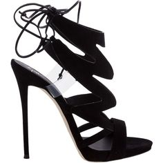 Stiletto Heel Sandals (2.295 RON) ❤ liked on Polyvore featuring shoes, sandals, heels, nero, womenshoes, black sandals, black stiletto sandals, open toe heel sandals, lace-up sandals and black heeled sandals