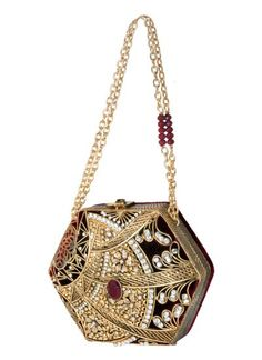 Exquisitely Detailed Hexagon Clutch by Meera Mahadevia | Indian Designers | Indian Bags and Clutches