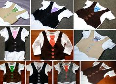 Long Sleeve Tie and Vest Onesie  Pinstripe  by TheCuddleCorner, $29.99