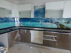 Mutfak Tezgah Arası 3D Cam Panel, Estetik Dayanıklı, Ekonomik...  - Mont...