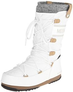 $112, White Snow Boots: Tecnica Monaco Felt Moon Winter Boot. Sold by Amazon.com. Click for more info: https://lookastic.com/women/shop_items/140274/redirect