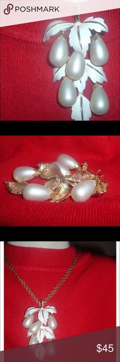 """Vintage 50s Parklane Pearl Pin/ Pendant. This pin/pendant is one of Park Lane's earlier lines, from the 1950s, offering gorgeous white enamel leaves from which descend a deluge of bead """"grapes."""" The beads are white faux pearls. Note the wonderful beaded design under the leaves. The pendant is also a brooch, so you can remove the chain & switch to a brooch. Vintage Jewelry Necklaces"""