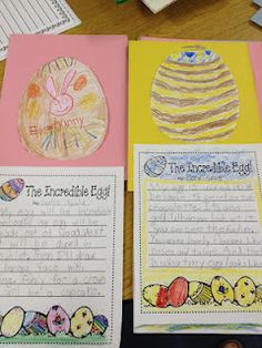 This is an Easter Egg writing activity. I would use this in a writing center around Easter time.