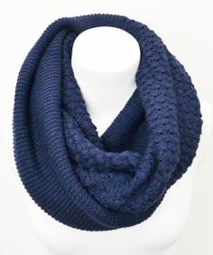 Navy Basket Weave Infinity Scarf | Daily deals for moms, babies and kids