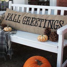 """""""Fall Greetings"""" burlap pillow."""