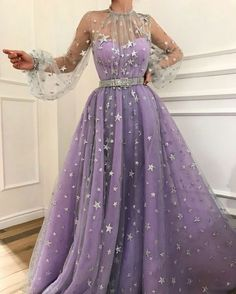 Charming purple prom dress,tulle with star evening dress,long a-line party dress from SofieDress Prom Dresses, A-Line Evening Dress, Purple Evening Dress Prom Dresses 2019 Fancy Prom Dresses, Prom Dresses Long With Sleeves, A Line Prom Dresses, Tulle Prom Dress, Pretty Dresses, Bridal Dresses, Beautiful Dresses, Evening Dresses, Dress Long