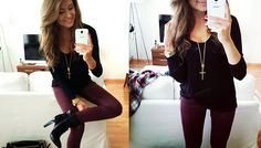 Burgundy skinnies and black. Gold accents.