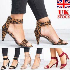 8acc60cb UK Womens Kitten Mid Heels Ladies Ankle Strap Sandals Zipper Casual Shoes  Size - Kitten Heels