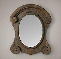 Mansard Scroll Mirror - Natural | Wood | Restoration Hardware