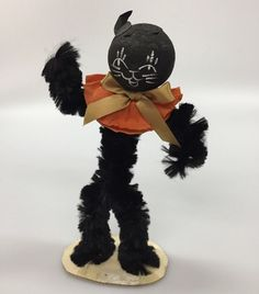 Vintage Halloween Black Cat Figure Decoration Wire Pipe Cleaners Ball Head