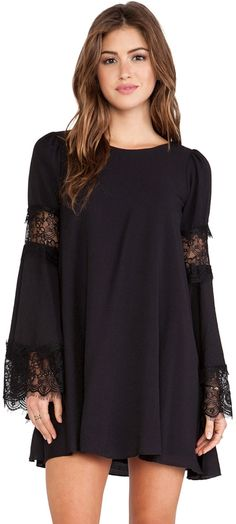 Black Lace Long Sleeve Loose Dress