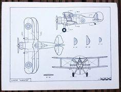 "WW2 Plan ""Goster Gladiator"" British biplane fighter aircraft - reserved for davejd123"