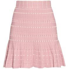 Alexander McQueen Peplum knitted skirt ($358) ❤ liked on Polyvore featuring skirts, bottoms, pink skirt, alexander mcqueen, tweed skirt, peplum skirt and rose skirt