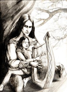 """Maglor and Elrond    """"For Maglor took pity upon Elros and Elrond, and he cherished them, and love grew after between them, as little might be thought; but Maglor's heart was sick and weary with the burden of the dreadful oath.""""  J. R. R. Tolkien: The Silmarillion"""