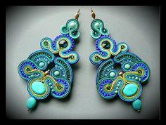 Soutache earrings Swarovski crystals turquoise by Mayasbijou €36.44 EUR on Etsy.com