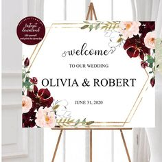 Marsala wedding welcome sign template Burgundy Welcome Sign | Etsy