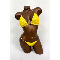 Final Yellow Metallic Spandex Bikini Suit (€120) ❤ liked on Polyvore featuring swimwear, bikinis, dark olive, women's clothing, tie bikini, metallic bikini swimwear, clear string bikini, padded triangle bikini and triangle swim wear