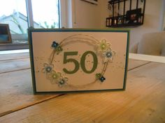 Stampin Up Karte zum 50. Geburtstag mit Bigz Druckbuchstaben, Itty Bitty, Petite Petals, Georgeus Grunge, Perfekte Pärchen, Wimpeleien, Papillon Potpourri