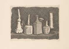 Still Life in broad strokes Giorgio Morandi (Italian, Bologna Bologna) Date: 1931 Medium: Etching Dimensions: 9 x 12 in. x cm) 15 x 20 in. x cm) Classification: Prints Credit Line: Harris Brisbane Dick Fund, 1946 Accession Number: Italian Painters, Italian Artist, Collages, Structural Drawing, Still Life Drawing, Vanitas, Inspirational Artwork, Art Tutorials, Pencil Drawings