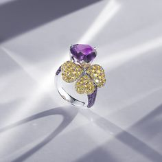 The coloured gemstones in our limited-edition collection are set in platinum or white gold, accompanied by precious tsavorites on the band. The 18 pieces in the collection are available exclusively from the Bucherer Store in Zurich. Fine Jewelry, Jewellery, Zurich, Gemstone Colors, Diamond Rings, Heart Ring, White Gold, Fancy, Gemstones