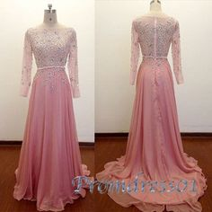 Elegant pink chiffon long modest prom dress with sleeves, ball gown 2016 #coniefox