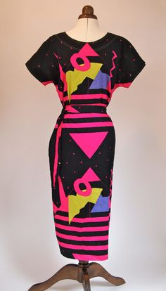Geo-fabulous! vintage 1980s summer day dress £30.00